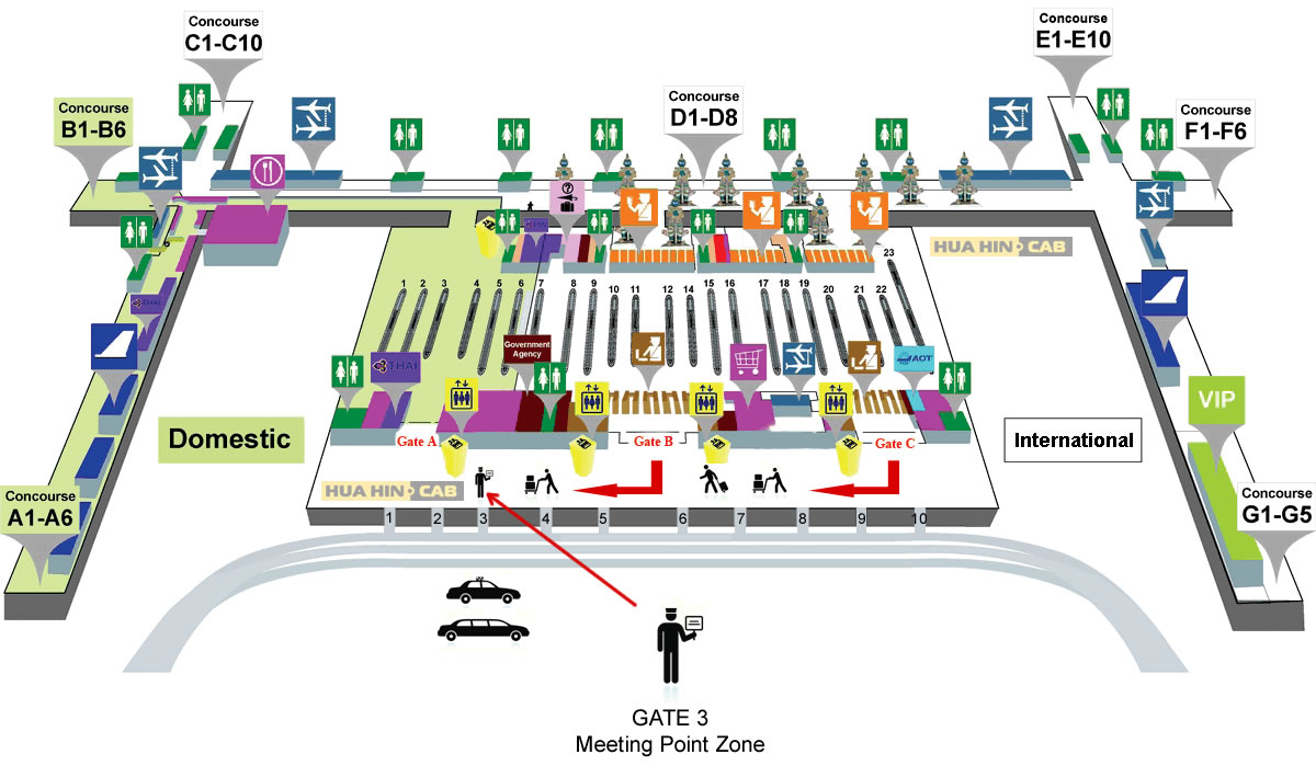 Meeting point zone at Suvarnabhumi Airport - floor map