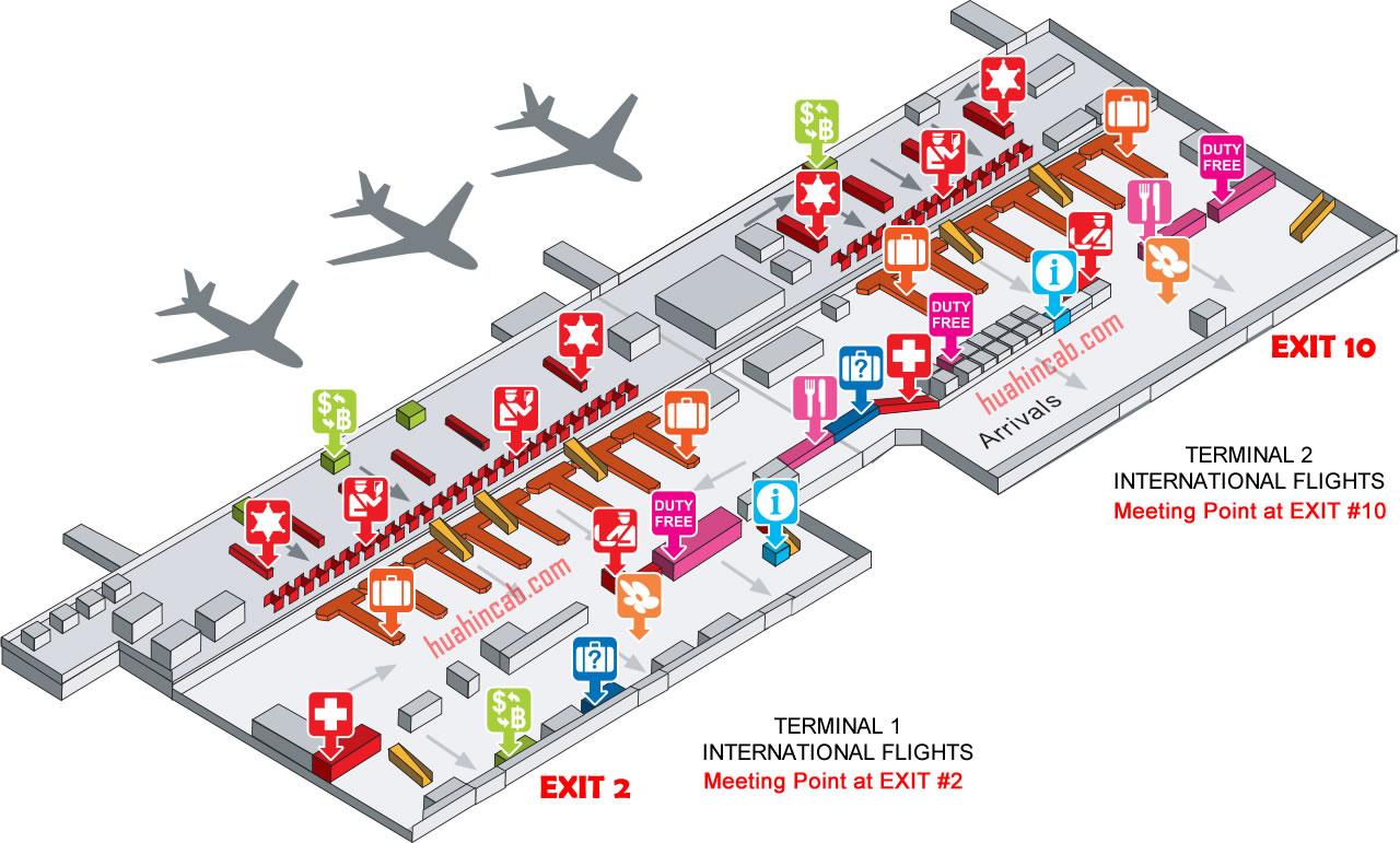 Bangkok Map Don Muang Airport Don Mueang Airport Bangkok arrivals map   Bangkok to Hua Hin taxi
