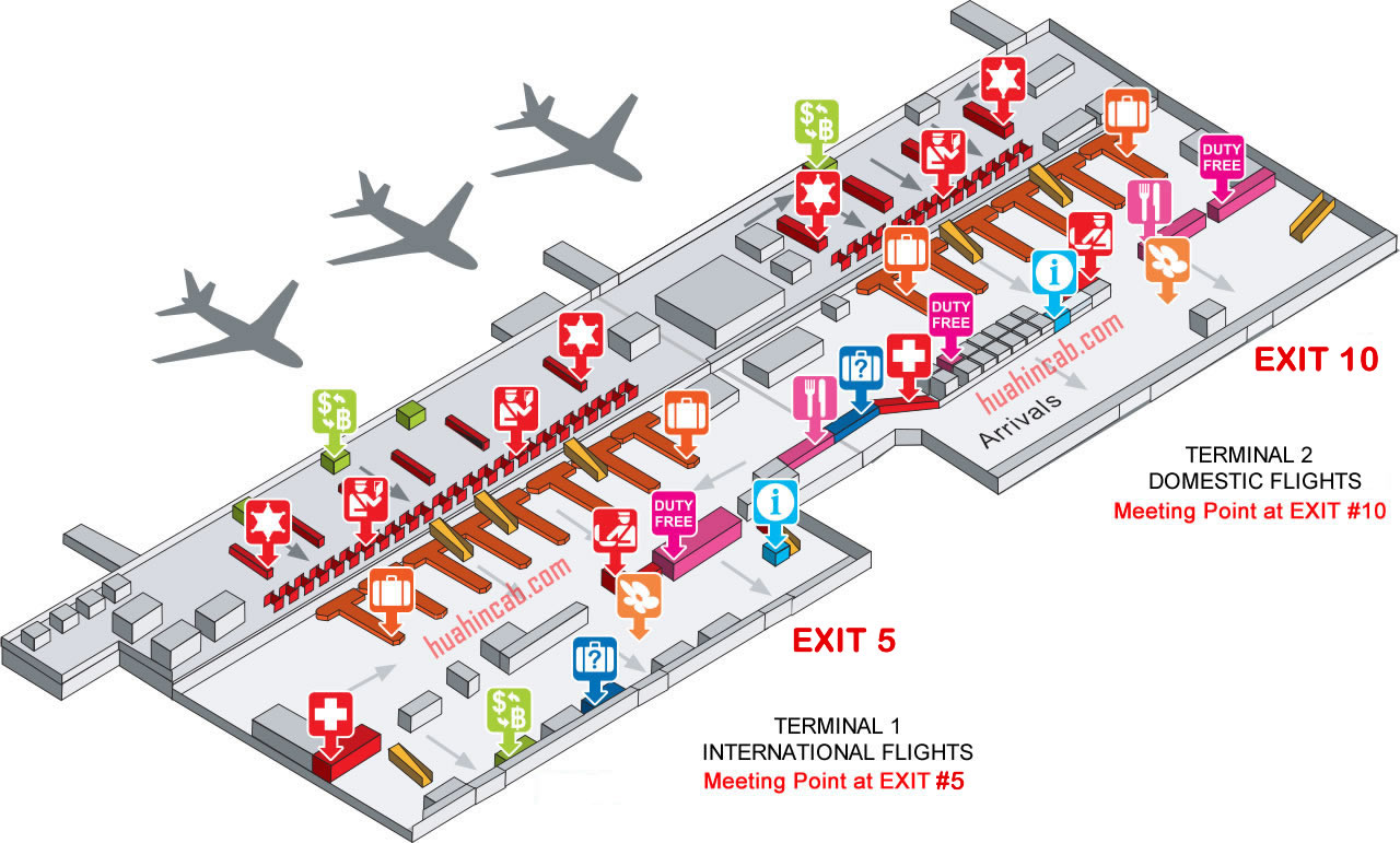 Don Mueang Airport Bangkok arrivals map